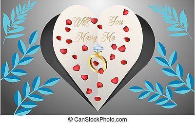 paper cut heart on abstract floral background with ring and rose petals
