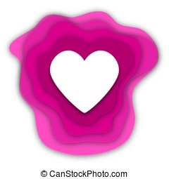 paper cut heart on white background