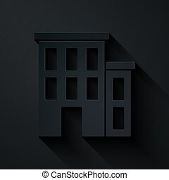 Paper cut House icon isolated on black background. Home symbol. Paper art style. Vector