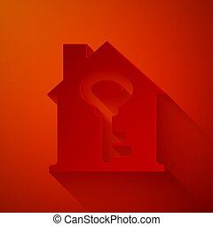 Paper cut House with key icon isolated on red background. ...