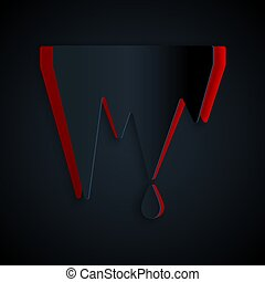 Paper cut Icicle icon isolated on black background. ...