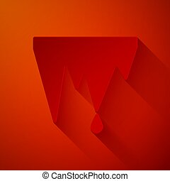 Paper cut Icicle icon isolated on red background. Stalactite...