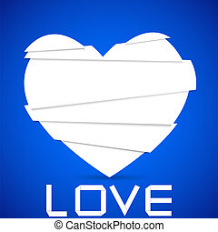 paper cut into a heart on blue. vector background. Best...