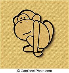Paper cut monkey zodiac symbol