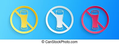 Paper cut No alcohol icon isolated on blue background. Prohibiting alcohol beverages. Forbidden symbol with beer bottle glass. Paper art style. Vector