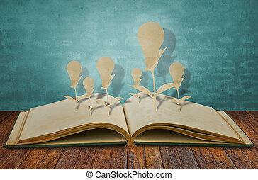 Paper cut of book of light bulb
