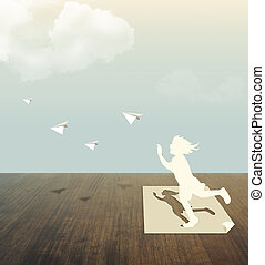 Paper cut of child on wood table with sky