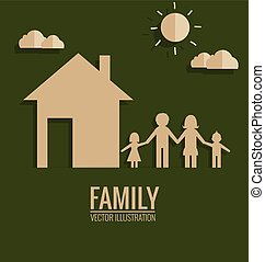 Paper cut of family. Vector illustration.