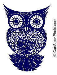paper-cut of  owl - Chinese traditional culture