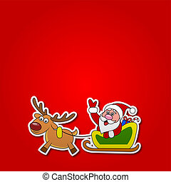 paper cut of Santa drives his sleig - Vector illustration of...