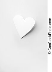 Paper Cut Out Heart - Real cutout white paper heart with...