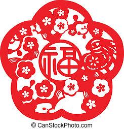 paper-cut, padrão, chinês