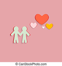 Paper Cut People and Hearts on Pink Background