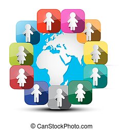 Paper Cut People Around Globe Vector Illustration