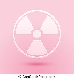 Paper cut Radioactive icon isolated on pink background. Radioactive toxic symbol. Radiation Hazard sign. Paper art style. Vector.