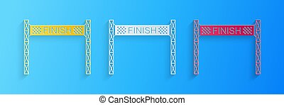 Paper cut Ribbon in finishing line icon isolated on blue background. Symbol of finish line. Sport symbol or business concept. Paper art style. Vector