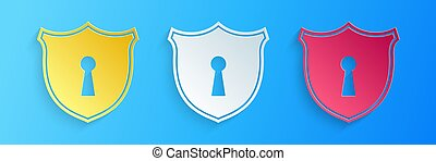 Paper cut Shield with keyhole icon isolated on blue background. Protection and security concept. Safety badge icon. Privacy banner. Defense tag. Paper art style. Vector