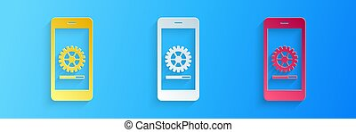 Paper cut Smartphone update process with gearbox progress and loading bar icon isolated on blue background. System software update and upgrade concept. Paper art style. Vector