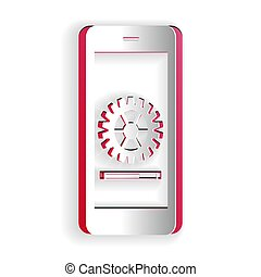 Paper cut Smartphone update process with gearbox progress and loading bar icon isolated on white background. System software update and upgrade concept. Paper art style. Vector