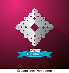 Paper Cut Snowflake on Violet Background