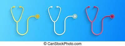 Paper cut Stethoscope medical instrument icon isolated on blue background. Paper art style. Vector