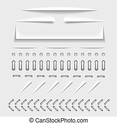 Paper cut, stitch and perforation web dividers with shadow effect vector template