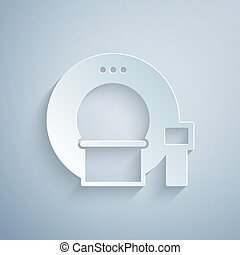 Paper cut Tomography icon isolated on grey background. Medical scanner, radiation. Diagnosis, radiology, magnetic resonance therapy. Paper art style. Vector Illustration