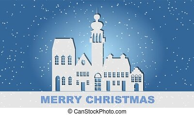 paper cut town silhouette with old houses and tower, blue winter backgroud, falling snow, merry chistmas lettering, 4k resolution animated video congratulation