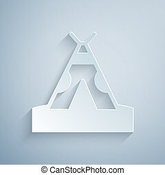 Paper cut Traditional indian teepee or wigwam icon isolated on grey background. Indian tent. Paper art style. Vector.