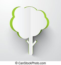 Paper Cut Tree Vector Illustration