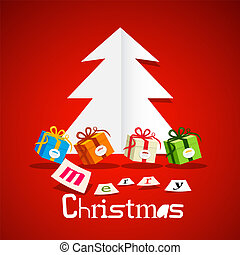 Paper Cut Tree with Gift Boxes on Red Background. Vector Merry Christmas Greeting Card Design.
