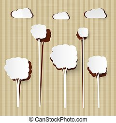 Paper Cut Trees and Clouds on Cardboard Background