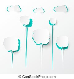 Paper Cut Trees and Clouds Vector Background