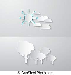 Paper Cut Trees, Clouds and Sun. Vector Abstract Nature Background.