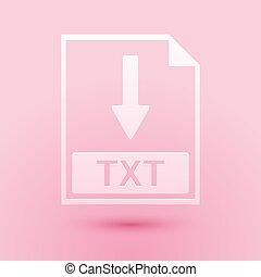 Paper cut TXT file document icon. Download TXT button icon ...