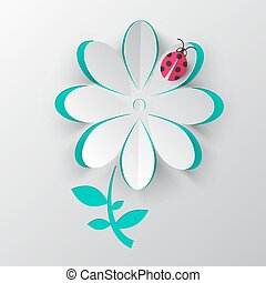 Paper Cut Vector Flower with Ladybird Bug