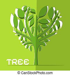 Paper Cut Vector Tree on Green Background