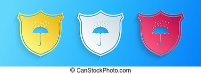 Paper cut Waterproof icon isolated on blue background. ...