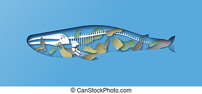Paper cut whale skeleton x ray water pollution