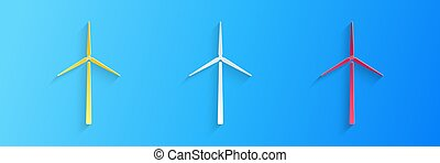Paper cut Wind turbine icon isolated on blue background. Wind generator sign. Windmill silhouette. Windmills for electric power production. Paper art style. Vector