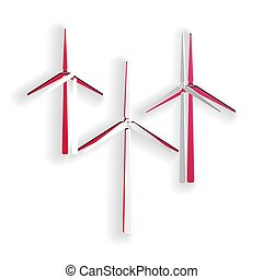 Paper cut Wind turbine icon isolated on white background. Wind generator sign. Windmill silhouette. Windmills for electric power production. Paper art style. Vector