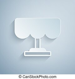 Paper cut Wooden table icon isolated on grey background. Street cafe. Paper art style. Vector