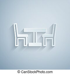 Paper cut Wooden table with chair icon isolated on grey background. Street cafe. Paper art style. Vector