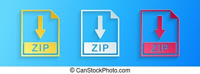 Paper cut ZIP file document icon. Download ZIP button icon isolated on blue background. Paper art style. Vector