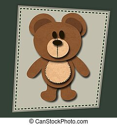 paper cute bear with shadows vector illustration