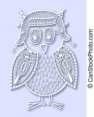 paper cute of doodle owl