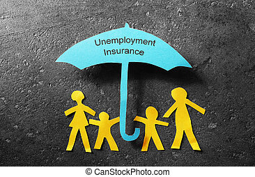 Unemployment Insurance umbrella - Paper cutout family of...