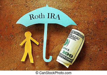 Roth IRA - Paper cutout person under a Roth IRA umbrella...