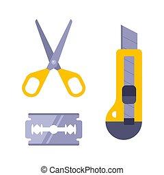 paper cutting kit. stationery knife, blade and scissors. children needlework. flat vector illustration.