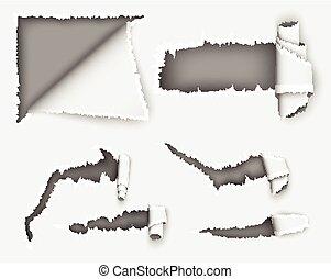 paper., déchiré, feuille, trou, cahier